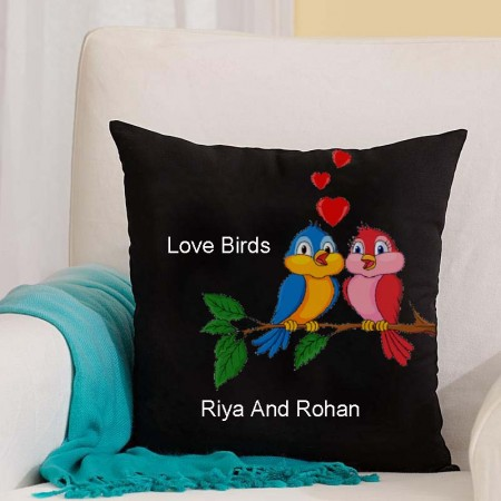Giftsuncommon - Love Birds Printed Black Pillow